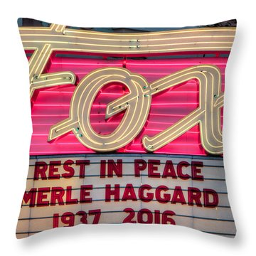 Billboard Merle Haggard Rip Throw Pillow