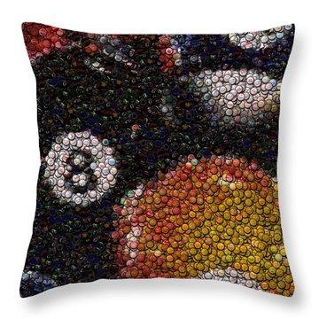 Billiard Ball Bottle Cap Mosaic Throw Pillow by Paul Van Scott