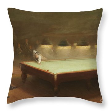 Billiard Match At Thurston Throw Pillow