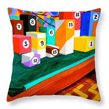 Billiard Table Throw Pillow by Cyril Maza