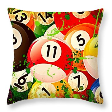 Billiards Collage Throw Pillow by David G Paul