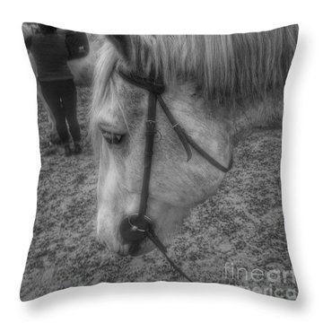 Billie After An Hours Riding.  #horses Throw Pillow