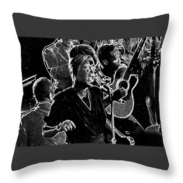 Throw Pillow featuring the mixed media Billie Holiday by Charles Shoup