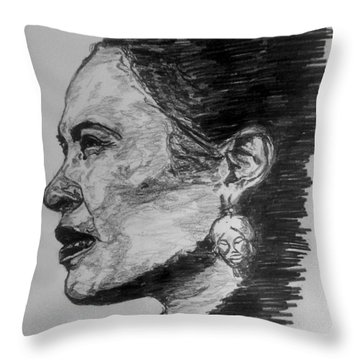 Billie Holiday Throw Pillow by Rachel Natalie Rawlins