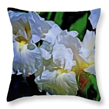 Throw Pillow featuring the mixed media Billowing White Irises by Lynda Lehmann