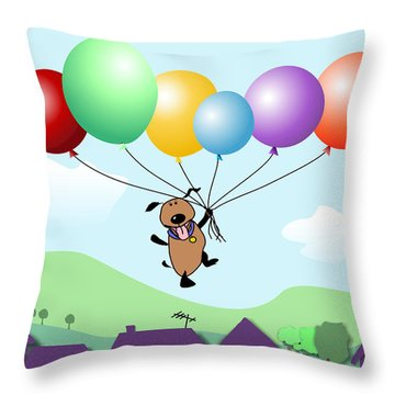 Billy Above The Rooftops Throw Pillow by Arline Wagner