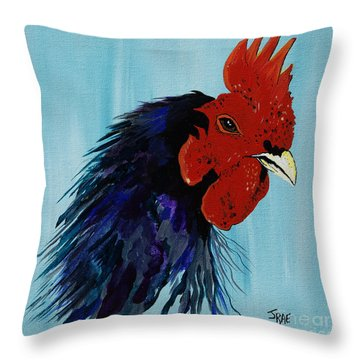 Throw Pillow featuring the painting Billy Boy The Rooster by Janice Rae Pariza