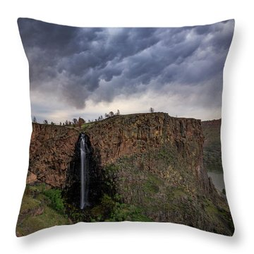 Billy Chinook Falls Throw Pillow by Cat Connor