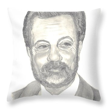 Throw Pillow featuring the drawing Billy Joel Portrait by Carol Wisniewski