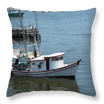 Throw Pillow featuring the photograph Bilouxi Shrimp Boat by Cynthia Powell