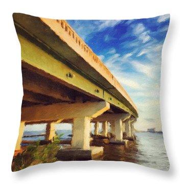 Biloxi Bridge #bay #biloxi #bridge Throw Pillow by Joan McCool