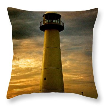 Biloxi Lighthouse - Sunrise Throw Pillow