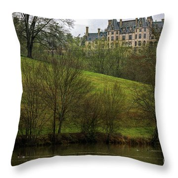 Biltmore Estate At Dusk Throw Pillow