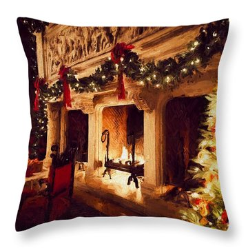 Biltmore House Triple Fireplace Throw Pillow