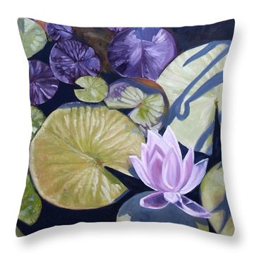 Throw Pillow featuring the painting Biltmore Lilypads by Robert Decker