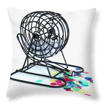 Bingo Cage Throw Pillow by Allan  Hughes