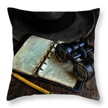 Binoculars Fedora And Notebook Throw Pillow