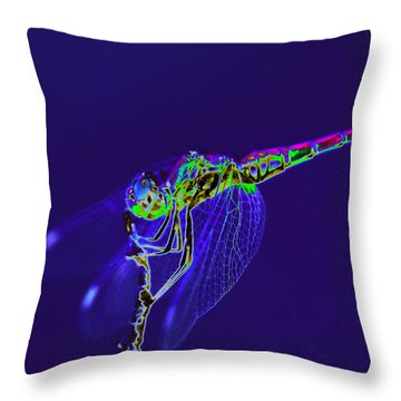 Bioluminescent Dragonfly Throw Pillow by Richard Patmore