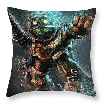 Bioshock Throw Pillow by Taylan Apukovska