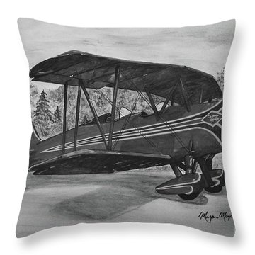 Biplane In Black And White Throw Pillow by Megan Cohen