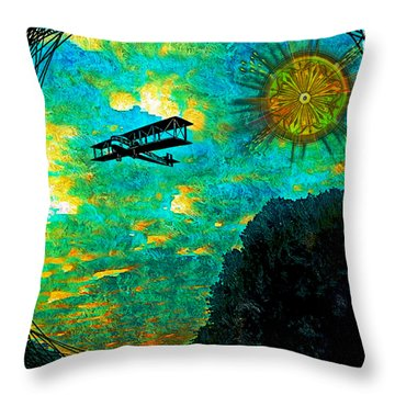 Throw Pillow featuring the digital art Biplane by Iowan Stone-Flowers
