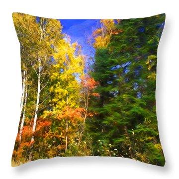 Birch And Pine Throw Pillow by Susan Crossman Buscho