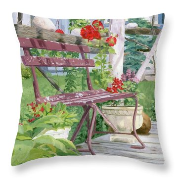 Birch Bark Book Shop Throw Pillow
