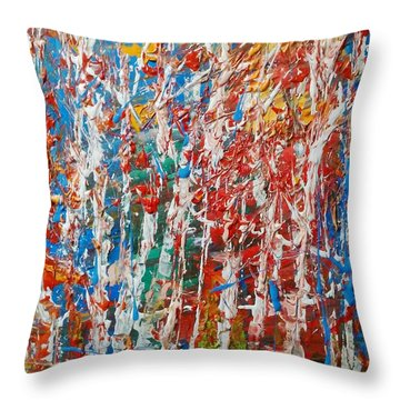 Birch Forest Abstract  No.2 Throw Pillow