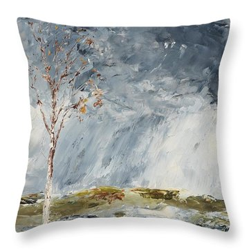 Birch I Throw Pillow by August Strindberg