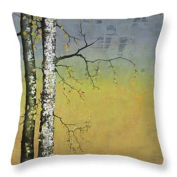 Birch In A Golden Field Throw Pillow