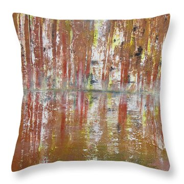 Throw Pillow featuring the painting Birch In Abstract by Gary Smith