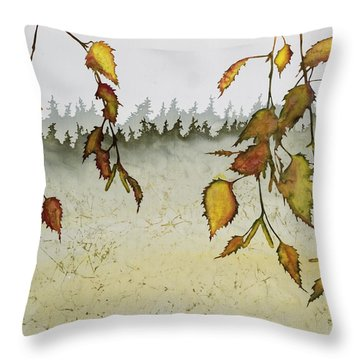 Birch In Autumn Throw Pillow by Carolyn Doe