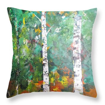 Throw Pillow featuring the painting Birch In Color by Gary Smith