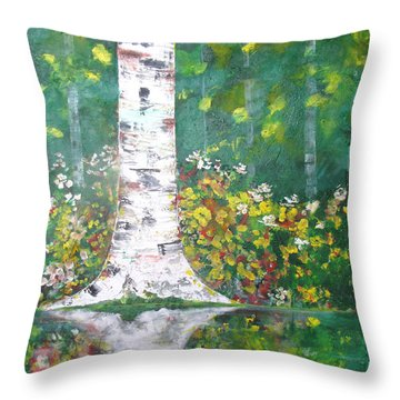 Throw Pillow featuring the  Birch In Flowers by Gary Smith