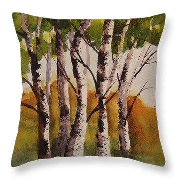 Birch Throw Pillow by Marilyn Jacobson