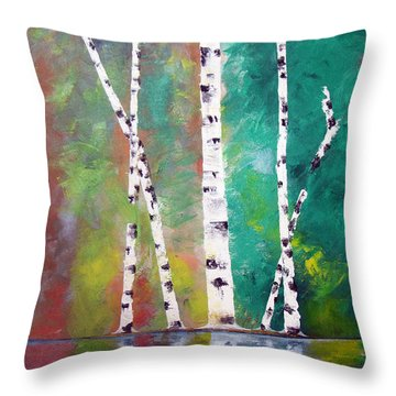 Throw Pillow featuring the painting Birch On Bank by Gary Smith