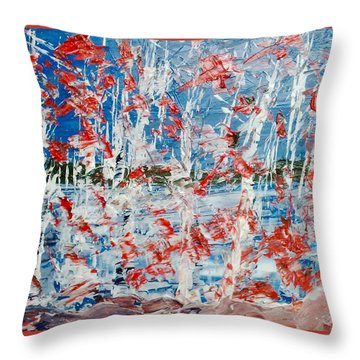 Birch On Pink Rocks Throw Pillow