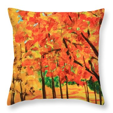 Birch Tree /autumn Leaves Throw Pillow