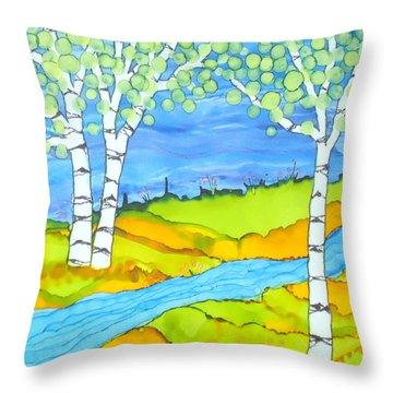 Birch Tree Landscape  Throw Pillow