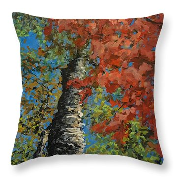 Birch Tree - Minister's Island Throw Pillow
