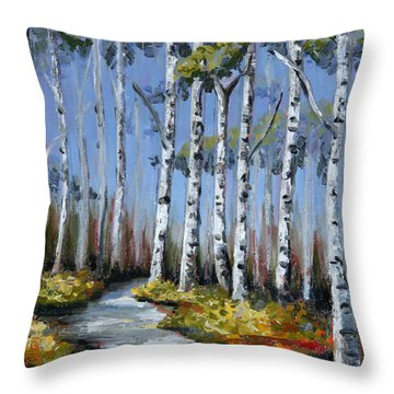 Birch Tree Path Throw Pillow