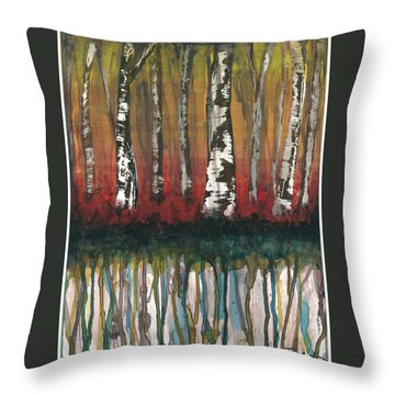 Birch Trees #2 Throw Pillow by Rebecca Childs