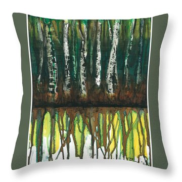 Birch Trees #3 Throw Pillow by Rebecca Childs