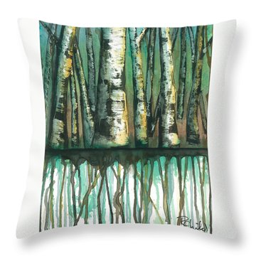Birch Trees #5 Throw Pillow by Rebecca Childs