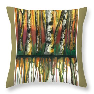 Birch Trees #6 Throw Pillow by Rebecca Childs