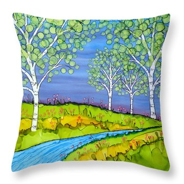 Birch Trees Abstract Landscape Ceramic Tile Paitning Throw Pillow