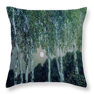 Birch Trees Throw Pillow by Aleksandr Jakovlevic Golovin