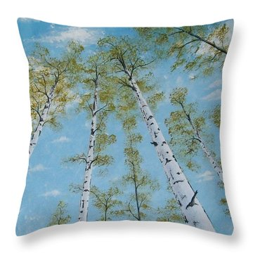 Birch Trees And Sky Throw Pillow
