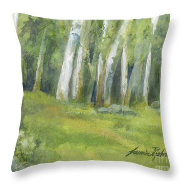 Birch Trees And Spring Field Throw Pillow