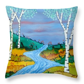 Birch Trees And Stream Throw Pillow